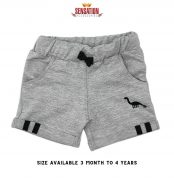 GREY DINOSORE EMBRIODED SHORTS FOR BOYS