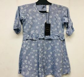 LIGHT BLUE FROCK WITH SUNFLOWER PRINT FOR GIRLS 01