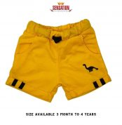 YELLOW DINOSORE EMBRIODED SHORTS FOR BOYS