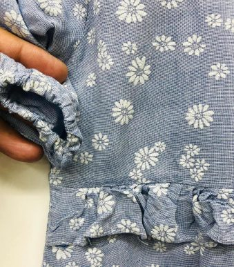 LIGHT BLUE FROCK WITH SUNFLOWER PRINT FOR GIRLS 02